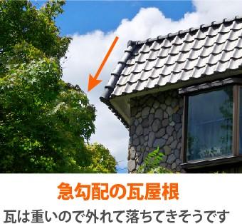 急勾配の瓦屋根