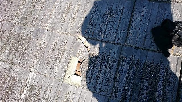 割れた平型セメント瓦
