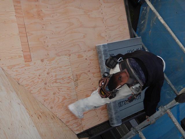 軒先から防水紙を施工