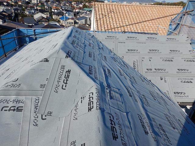 防水紙の施工完了