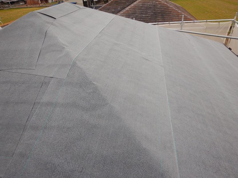 粘着式防水紙施工後