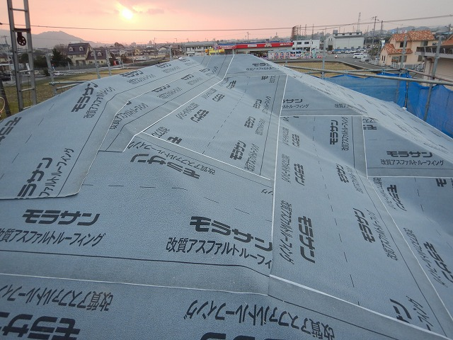 防水紙施工完了