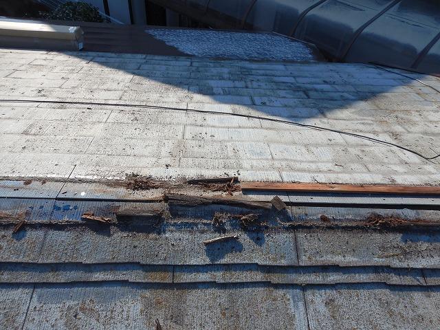 棟板金を撤去した時の写真