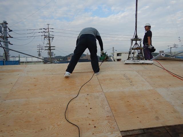 構造用合板を釘で固定