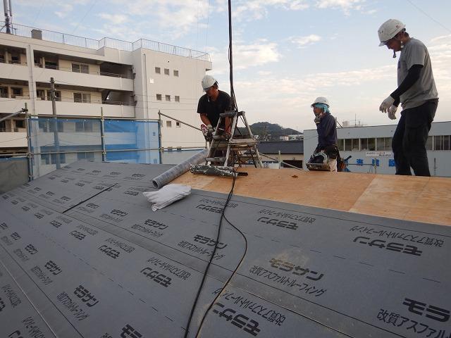防水紙の施工