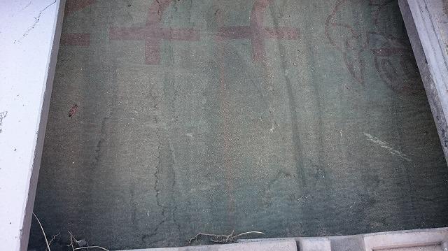 松山市大山寺町10寸勾配平板瓦ぶき屋根の谷部の雨漏現場調査瓦をメックタ