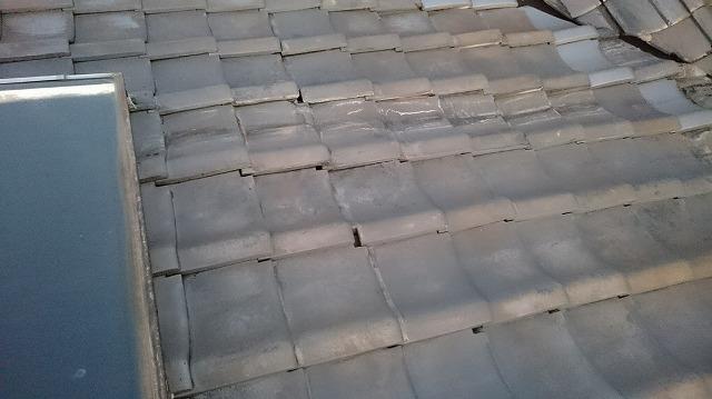 太陽熱温水器下の瓦