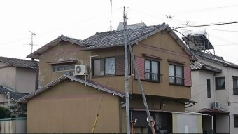 香川県高松市の在来木造一般住宅屋根瓦葺き替え工事現場調査 北東面