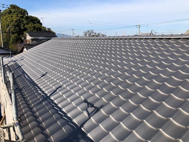 幼稚園の屋根西面側の完工写真