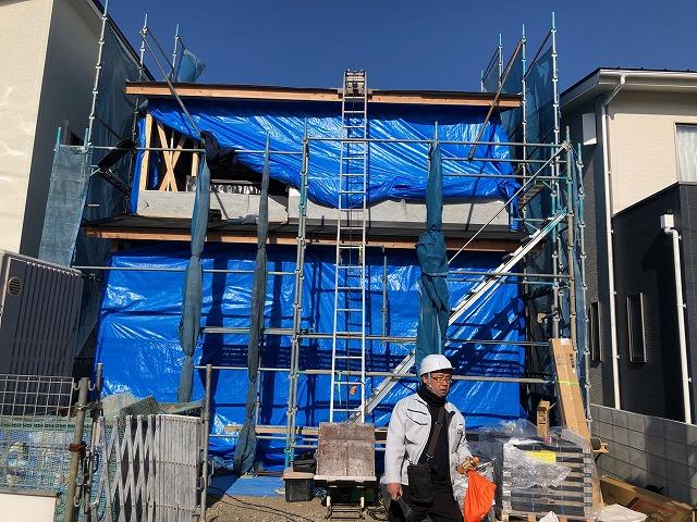 松山市畑寺の新築二階建ての現場写真