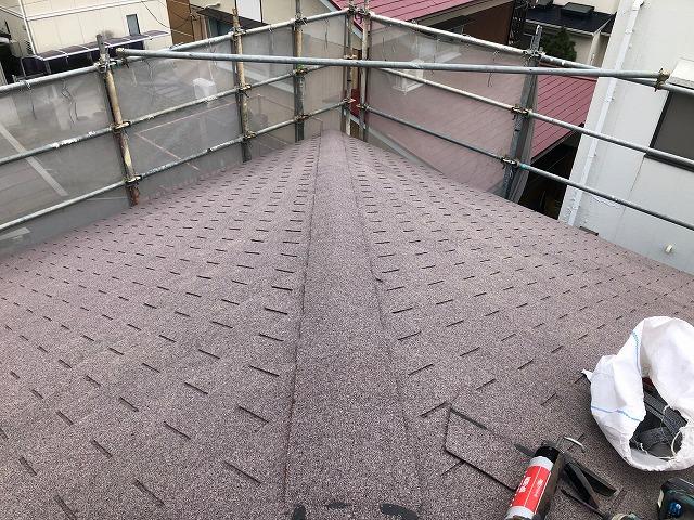 屋根隅棟部の工事が完了した時の写真
