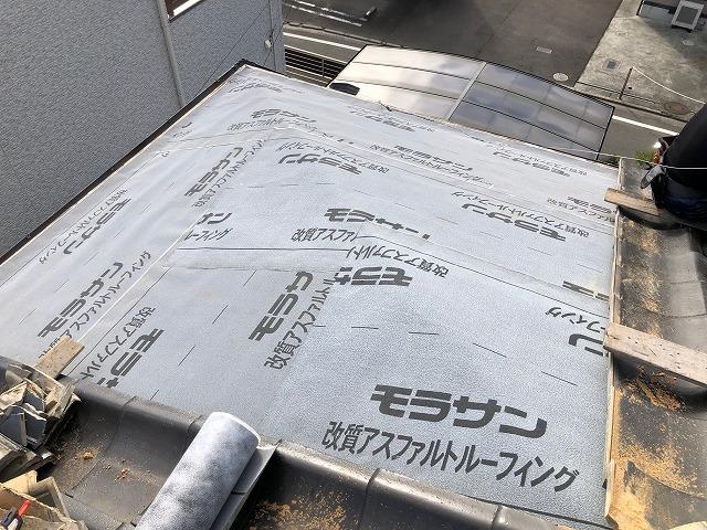 防水紙の施工が完了した時の写真