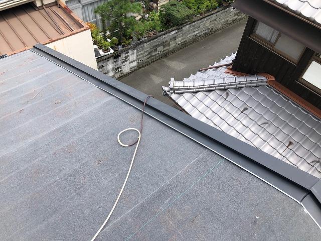 二階のケラバの板金の施工が完了した時の写真