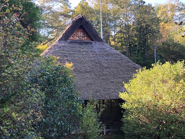 茅葺き屋根の全体の写真