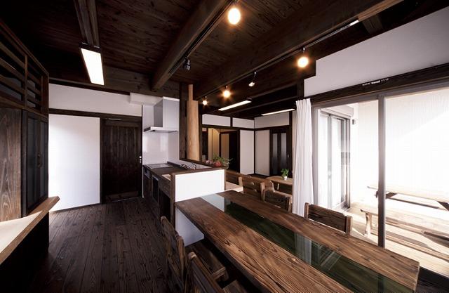 黒の音響熟成木材を使ったダイニングキッチン