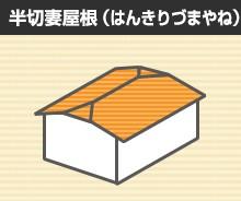 半切妻屋根(はんきりづまやね)